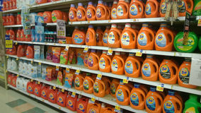 Laundry detergent selling at supermarket Stock Photography