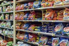 Laundry detergent on the supermarket shelves Stock Images
