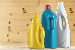 Laundry Detergents. Merchandise Plastic Bottle Laundry Cleaning Consumerism Royalty Free Stock Photography