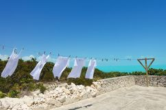 Laundry dries on a line in Providenciales, Turks and Caicos royalty free stock photo