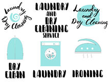 Laundry and dry cleaning service. Ironing, service set of vector emblems, labels, badges and design elements isolated on white background Stock Photo