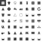 Laundry and dry cleaning vector icons set Stock Photography