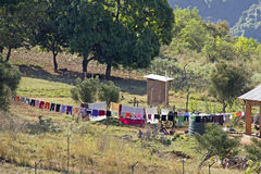 Laundry drying in African village Stock Images