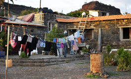 Laundry Drying, Clothes, Colorful Pins, Home, Cape Verde Stock Image