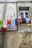 Laundry Drying on a Clothesline Stock Photography