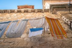 Laundry drying on a clothesline Royalty Free Stock Photos