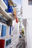 Laundry Drying on Cute Mykonos Street Stock Photography