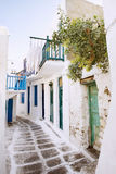 Laundry Drying on Cute Mykonos Street Royalty Free Stock Photography