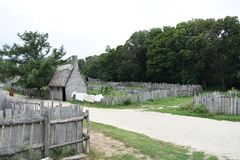 Plimoth Plantation Colonial Village with Laundry Drying royalty free stock images