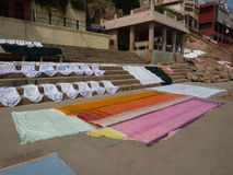 Laundry drying on the ghat steps Stock Image