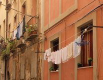 Laundry. Drying on the line in the narrow streets of Cagliari on the island of Sardinia, Italy stock photo
