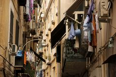 Laundry. Drying in the narrow streets of Naples, Italy royalty free stock image
