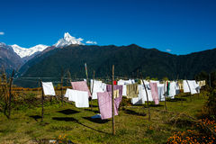 Laundry drying in Nepal Royalty Free Stock Images