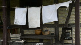 Laundry Drying on Old Farm stock footage