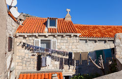 Laundry is drying in Old Town of Dubrovnik, Croatia Royalty Free Stock Image