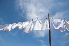 Laundry drying on the rope outside Royalty Free Stock Photo