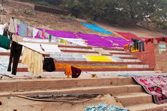 Laundry drying on the steps of ghat near Ganga river. Varanasi Royalty Free Stock Photography