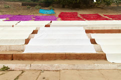 Laundry drying on the steps of ghat near Ganga river. Varanasi Royalty Free Stock Photos
