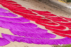 Laundry drying on the steps of ghat near Ganga river. Varanasi Royalty Free Stock Photo