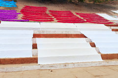 Laundry drying on the steps of ghat near Ganga river. Varanasi Royalty Free Stock Images