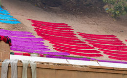 Laundry drying on the steps of ghat near Ganga river. Varanasi Stock Images