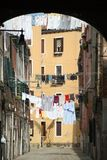 Laundry drying in Venice backstreet Stock Photos