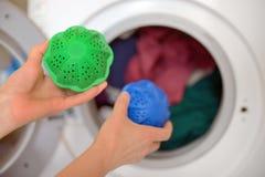 Laundry eco washing spheres Royalty Free Stock Images