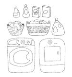 Laundry elements set, washer and dryer. detergents, basket of laundry, cartoon style vector illustration Royalty Free Stock Photos