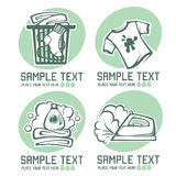 Laundry emblems. Laundry and cloth washing emblems for your logo design Stock Photography