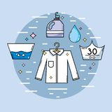 Laundry equipment to clean the clothes and housework. Vector illustration stock illustration