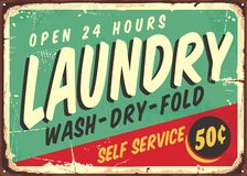 Laundry fifties comic style retro sign. Banner. Washing clothes promotional poster design on old rusty metal plate. Vector laundry illustration stock illustration