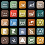 Laundry flat icons with long shadow Royalty Free Stock Photos