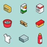 Laundry flat outline isometric icons Stock Image