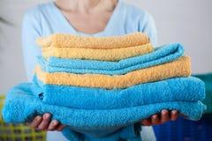 Laundry folding Stock Photo