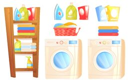 Laundry furniture object. Washer machine, iron, washing powder, shelves with household things for cleaning the house and towels stock illustration