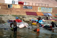 Laundry at the Ganges river Stock Image