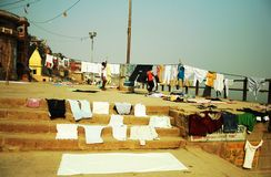 Laundry at Ganges river Royalty Free Stock Photo