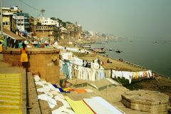 Laundry at Ganges river Royalty Free Stock Image