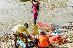 Laundry on Ganges river, India Stock Image