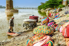 Laundry on Ganges river, India Stock Photography