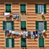 Laundry in Genoa. Laundry on the line outside a house in Genoa Stock Images