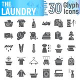 Laundry glyph icon set, clean symbols collection, vector sketches, logo illustrations, wash signs solid pictograms. Package isolated on white background, eps 10 stock illustration