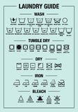 Laundry guide, washing, care signs, textile symbols, vector graphic design elements stock photography