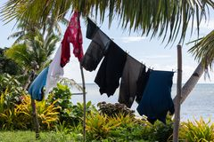 Laundry hanging on clothesline in Fiji stock photo