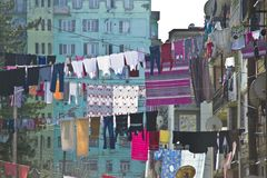 Laundry hanging in front of the facade in Batumi, Georgia Stock Photo