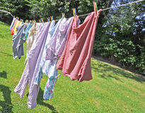 Laundry hanging Stock Photo