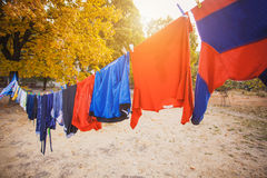 Laundry hanging in the garden Royalty Free Stock Photos