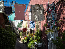 Laundry hanging outside Stock Photo