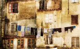 Laundry hanging outside ancient building in Southe Royalty Free Stock Photography