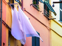 Laundry hanging outside. A house in Portovenere (Liguria Royalty Free Stock Photo